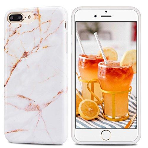 Coque iPhone 7 Plus , Coque iPhone 8 Plus Etui Housse Marbre Motif Mode Dessin Enveloppe Coque en Silicone TPU Ultra Mince Flexible et Souple Doux Gel Slim Housse de Protection pour Apple iPhone 7 Plu Jaune Clair Blan