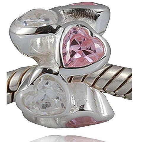 soulbead Romance breloque cœur Love avec zircone Transparent et rose Pierre Perle en argent sterling 925pour femme Bracelet