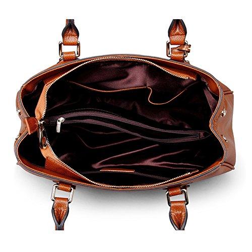 Trapezoidali Borse Totes del cuoio genuino della spalla della borsa a tracolla delle donne Myleas Marrone