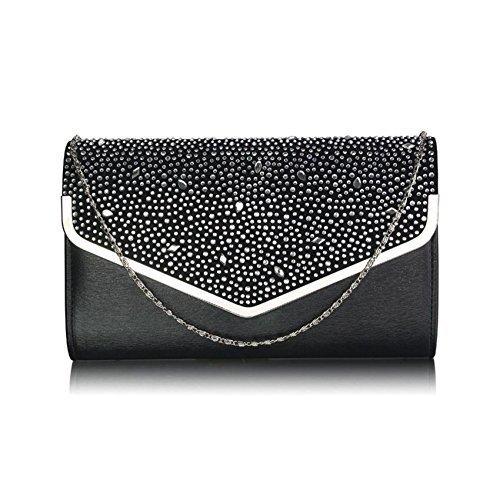 TrendStar Large Kupplungs Beutel Umschlag Diamante Partei Abschlussball Braut Abend Meine Damen Handtasche Schwarz/Silber
