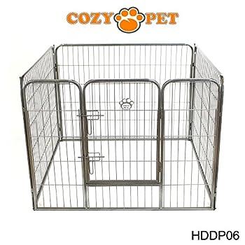 Cozy Pet Parc pour chiot robuste - Cage de chien - 3 tailles différentes - pour Chiens Chiots Animaux de compagnie - en Argent-Gris - Grande Taille - HDDP06.