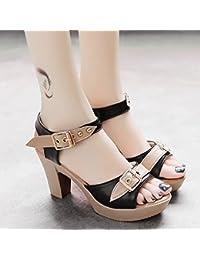 RUGAI-UE Boca de Pescado sandalias de tacón Hebilla Waterprotable Verano  zapatos de mujer moda 03141b6a6a5b