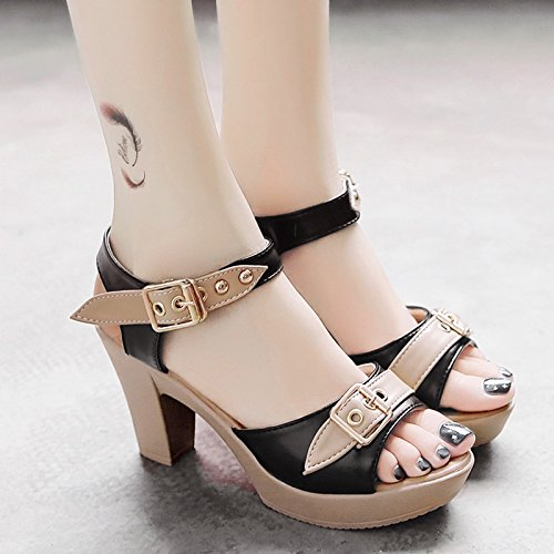 RUGAI-UE Bocca di pesce la fibbia della cinghia di sandali estivi Waterprotable tacco Scarpe Donna Moda scarpe High-Heeled Black