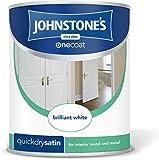 Johnstone's 303912 One Coat Satin Paint 750ml - Brilliant White