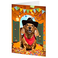 Party time Dachshund sausage dog dressed as a cowboy with confetti falling – General, Mother