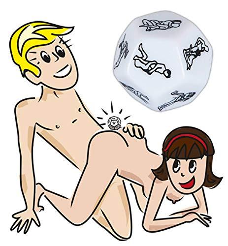 What´s next Würfel - erotischer Würfel für Paare, 12 verschiedene Sex-Stellungen mit dem Partner, Entscheidungshilfe, Sex-Stellungen, weiß