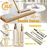 Toamen Useful Lazy Fully Clean Double-Side Flat Mop Hands-Free Washable Mop Home Cleaning Tool (Khaki)