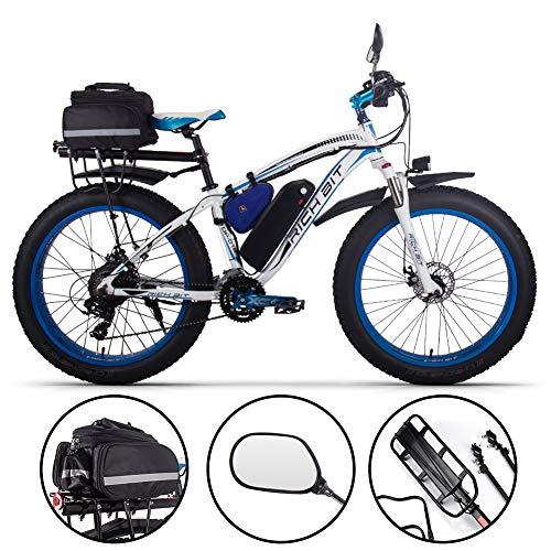 RICH BIT Bicicleta eléctrica para Hombres eléctrica para la Nieve Bicicleta de Nieve 1000W-48V-17Ah 26 * 4.0 Bicicleta de montaña MTB Shimano Frenos de Disco de 21 velocidades eléctrica Inteligente