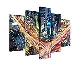 Bilderskulptur 5 teilig Breite 150cm x Höhe 100cm Urbane Fotografie – Verkehrskreuzung, Gangnam, Seoul, Südkorea auf Leinwand exklusives Wandbild moderne Fotografie für ihre Wand in vielen Größen