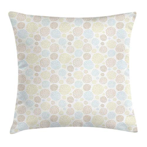 JIEKEIO Blue and Beige Throw Pillow Cushion Cover, Abstract Floral Petals Garden Meadow Childish Pattern Off White Background, Decorative Square Accent Pillow Case, 18 X 18 Inches, Multicolor -