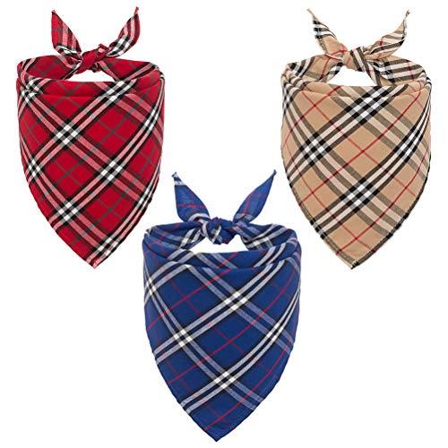 PUPTECK Puptech 3 x Hundehalstuch, kariert, waschbar, wendbar, Dreieck, Lätzchen, Schals, Zubehör - klassisches Design für Hunde und Katzen, cremefarben, Blau, Rot