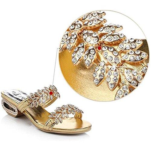 SUNAVY Damen Böhmen Bling Strass Sandalen mit Kreativ Metall Heel Peep Toe Sommer Strand Schuhe(EU34--EU40) BlingGold
