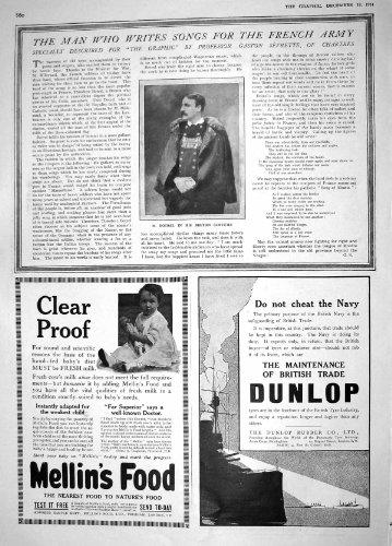 Old Original Antik Viktorianisch Druck 1914Porträt Botrel Bretonische Kostüm Mellins Food Dunlop 860M190