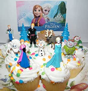 Frozen Movie Figure Deluxe Cake Toppers / Cupcake Party Favor Decorations Set Of 12 With Anna.