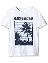Tommy Hilfiger 1985 Cn Tee - Camiseta para niño, color blanco (Classic White)