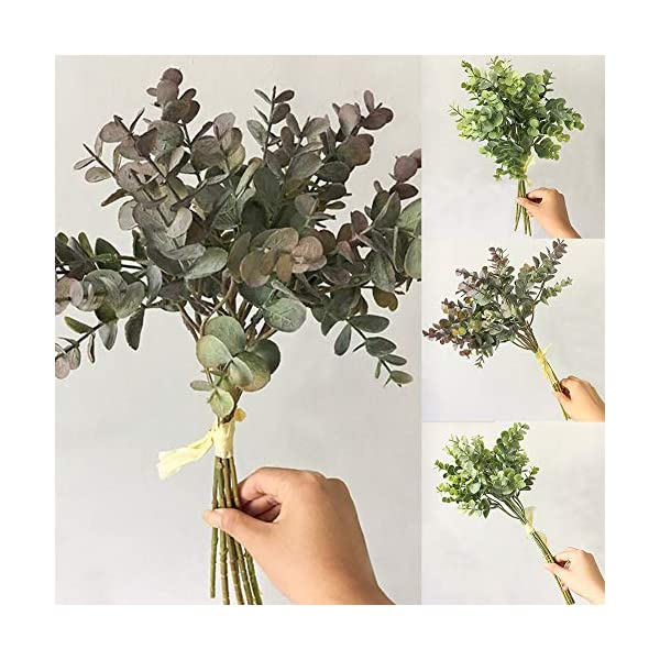 NAttnJf Artificiales Flores Eucalipto Artificial 1 Ramo de Plantas Artificiales de Hoja Falsa de eucalipto para el…