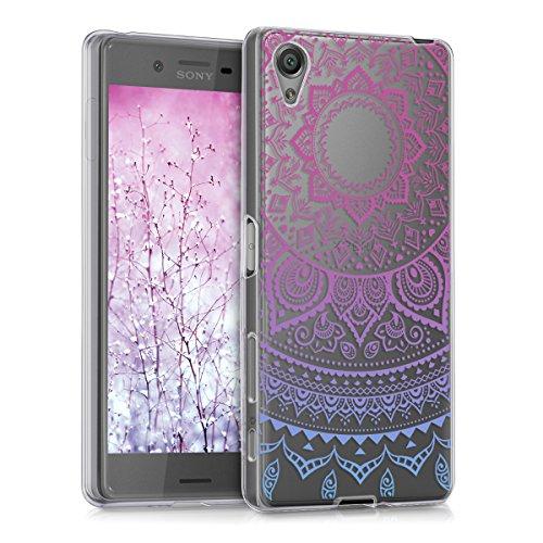 kwmobile Sony Xperia X Hülle - Handyhülle für Sony Xperia X - Handy Case in Indische Sonne Design Blau Pink Transparent