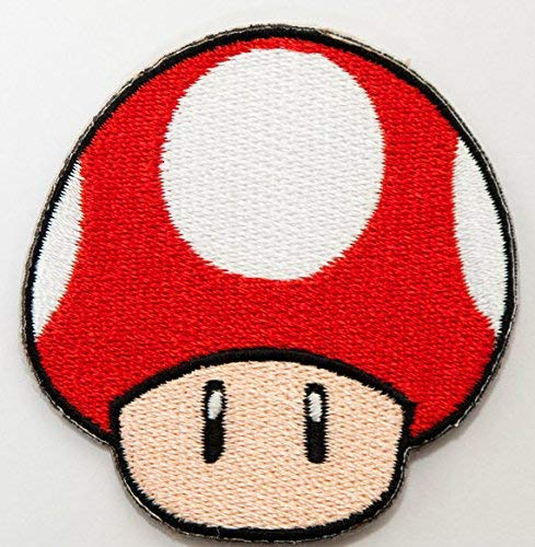 Kostüm Goomba - Red Mushroom patch Embroidered Iron on Badge Aufnäher Kostüm Cosplay Mario Kart/SNES/Mario World/Super Mario Brothers/Mario Allstars