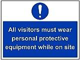 vsafety 41096bf-s Gebotszeichen, selbstklebend, alle Besucher tragen Schutzbekleidung während auf Website, Landschaft, 400mm x 300mm, blau