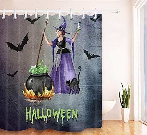 sserdichtes Gewebe Duschvorhang Polyester 12 Haken Hexe Gekochte Pharmazeutische Wasser Halloween 200(w) x180(h) cm ()