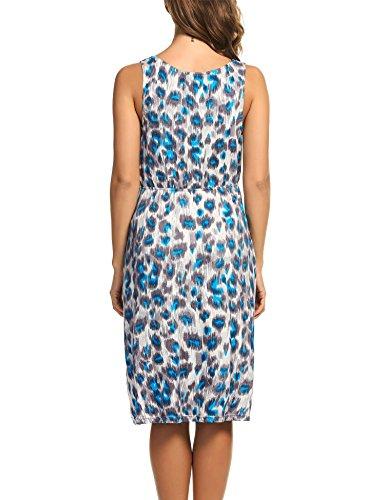 HOTOUCH Damen Umstandskleid Umstandsmoden Schwangerschaftskleider Maternity Kleid Brautkleid Jerseykleid Sommer Kleid Ärmellos Typ1-Blau Braun