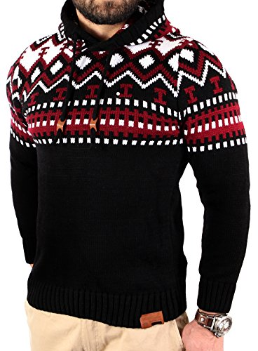 Reslad Norweger Pullover Herren Winterpullover Kapuzenpullover | Strickpullover für Männer RS-3013 (3XL, Schwarz-Rot)