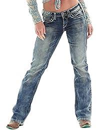 Mena Uk Mujeres Vintage Más Jewerings De Talla Grande Bordado De Cintura Jeggings Straight Boyfriend ( Color : Indigo blue , Tamaño : S )