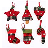 Stock Show Christmas Tree Ornaments Stocking Decorations 6Pcs Set Plaid Christmas Tree Stockings Candy Cane Star Glove Heart For Xmas Holiday Party New Year Decor, Red Plaid