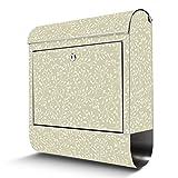 BANJADO Edelstahl Briefkasten mit Zeitungsfach, Design Motivbriefkasten, Briefkasten 38x43,5x12,5cm groß Motiv Zarter Zweig