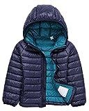 Bambino Giacche Packable di Piuma Leggero Giacca Piumino Giubbotti Inverno Cappotti con Cappuccio Per Ragazzo Ragazza Blu Navy 150