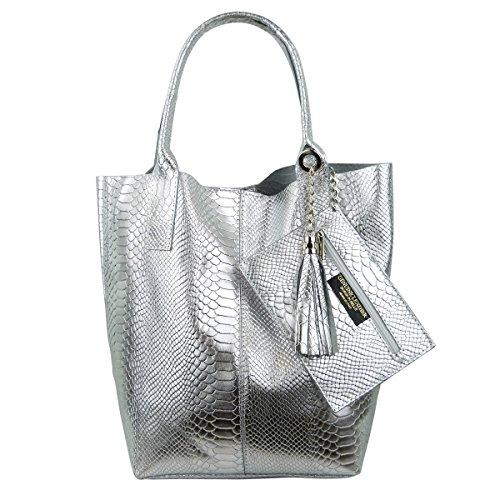 Damen Echtleder Shopper mit Schmucktasche in vielen Farben Schultertasche Henkeltasche Handtasche Metallic look Silber Metallic Snake