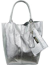 241a1b64cafaa Freyday Damen Echtleder Shopper mit Schmucktasche in vielen Farben  Schultertasche Henkeltasche Handtasche Metallic look