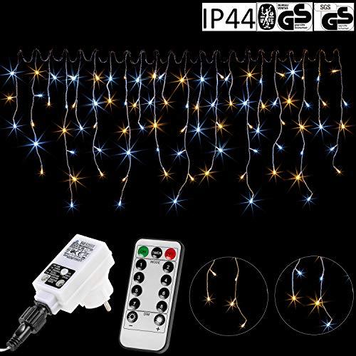 VOLTRONIC® 200 400 600 LED Eisregen Lichterkette für innen und außen, Farbwahl: warmweiß/kaltweiß/kaltweiß+warmweiß, GS geprüft, IP44, optional mit 8 Leuchtmodi/Fernbedienung/Timer