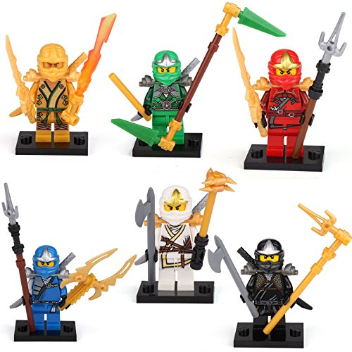Ninjago Ninja GALAXYARMS Minifigure Kai Cole Golden Lioyd Jay Zane Nexo Figurenset: 6 Ninjago Figuren (Lloyd, Jay, Kai, Cole, Skylor und Titanium (Set Ninja Star)