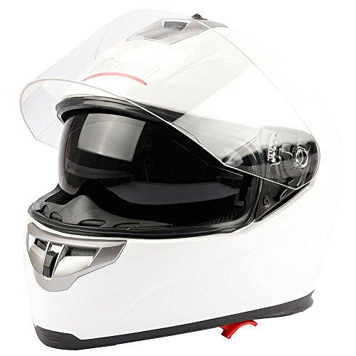 Preisvergleich Produktbild Mach1 Integralhelm Helm Motorradhel mit Integrierter Sonnenblende ECE R 22.05 Größe XS bis XXL (Weiß - Größe 57-58cm (M))