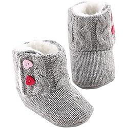 Tefamore Zapatos de niño Prewalker Invierno Soft Sole Crib Botones de botón caliente Boots de algodón para bebés (Tamaño: 12cm, 6-12 meses, Gris)