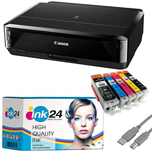 Canon PIXMA IP7250 Tintenstrahldrucker schwarz + USB Kabel & 5 komp. ink24 Druckerpatronen (Drucken per USB oder WLAN) - Originalpatronen ausdrücklich Nicht im Lieferumfang!