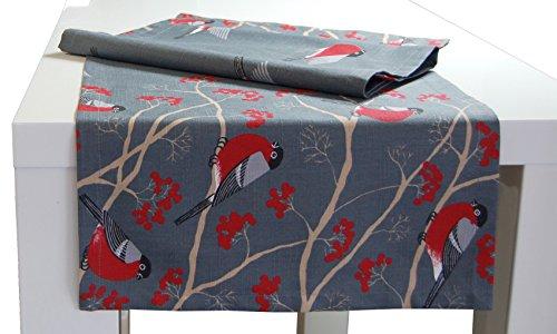 beties Beeren Vögel Tischläufer ca. 40x150 cm in interessanter Größenauswahl hochwertig & angenehm 100% Baumwolle Farbe (stone)