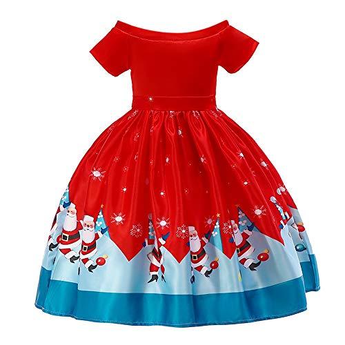 Riou Weihnachten Baby Kleidung Set Kinder Pullover Pyjama Outfits Set Familie Kleinkind Kinder Baby Mädchen Santa Print Prinzessin Kleid Partykleid Weihnachten (100, Rot A) -