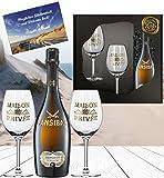 Sansibar Prosecco Geschenk-Set inkl. 2 Champagnergläserm aus Kristallglas mit Echt-Gold-Emblem  Luxus für Mann & Frau Sylt Special in schwarz gold  Vintage mit Gold-Gläsern