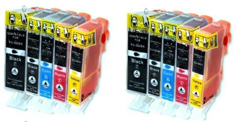 10 x kompatible XL Tintenpatronen mit CHIP & Füllstandanzeige Canon, Schwarz Cyan Gelb Magenta - 2 x kompletter Satz Patronen (02 Tintenpatrone Cyan)