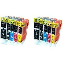 Silvertrade - 10 cartuchos de tinta XL para Canon Pixma IP 3600, 4600, 4700, MP 980, 630, 620, 540, 560, 550, 640, 980, 990 (recambio para CLI-521 y PGI-520, con chip y control del nivel), color negro, cian, magenta, amarillo.