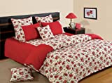 Swayam Shades of Paradise Printed Cotton 8 Piece Bed in a Bag Set - Red (BIB-6904)