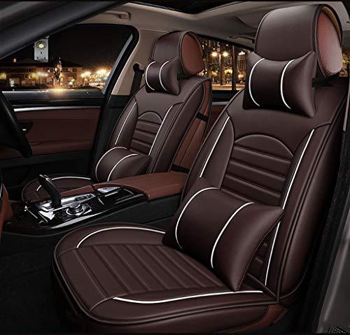 GR&ST Autositzkissen Bequemer Autositzbezug Atmungsaktive Haltungskorrektur Leder Autositzschutz Pad (Full Set Braun)