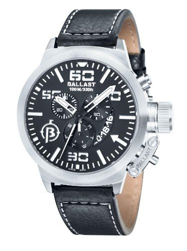 Ballast BALLAST watch BL-3101-01 Men's Chronograph 46mm Black Dial Leather belt