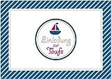 Einladungskarte zur Taufe Einladung zur Taufe Klappgrußkarte Taufkarte in blau gestreift für einen Jungen mit Einem Boot (Mit Umschlag) (8)
