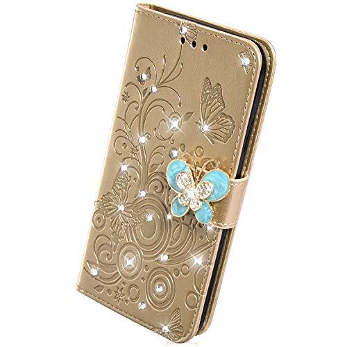Handyhülle Kompatibel mit Samsung Galaxy S8 Plus Hülle Leder Tasche Glitzer Diamant Strass Luxus Bling Schmetterling Blumen Muster Flip Case Leder Schutzhülle Brieftasche Handytasche,Gold