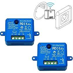 LoraTap Lot de 2 Interrupteur WiFi Alexa Sans Fil, MINI TAILLE, Récepteur 2500W 10A, Commutateur Connecté Intelligent, Commande à Distance Par Téléphone, Relais Compatible avec Google Home IFTTT