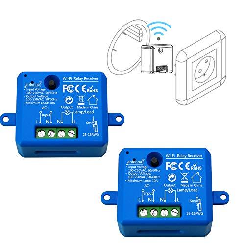 LoraTap Wifi Schalter Relais in blau Wireless Hausautomation IOS Android Anwendung DIY Auf-/Unterputz Kompatibel mit Alexa, Echo Dot und Google Home (2)