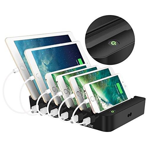 ELEGIANT Usb-Ladestation, 6-Port-Usb-Ladestation Multi Universal-Docking-Ladegerät Für Mehr Geräte Mit Schaltern Desktop-Organizer Ladestation 6 Schnittstelle -